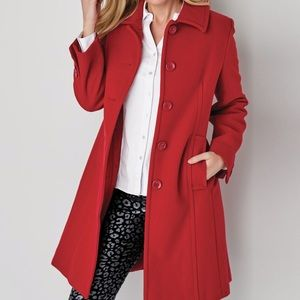 banana republic red coat with black buttons